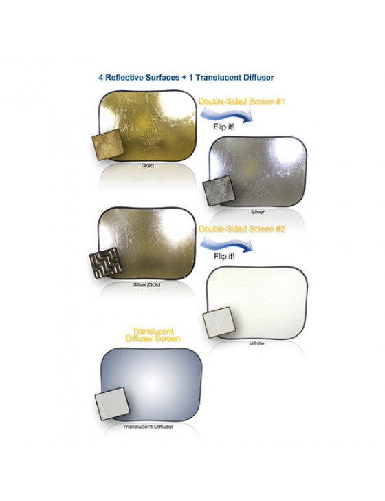Large 5-in-3 collapsible reflector set